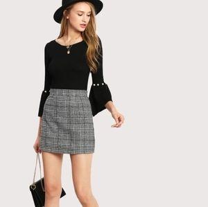 Black Wales Check Zip Back Skirt